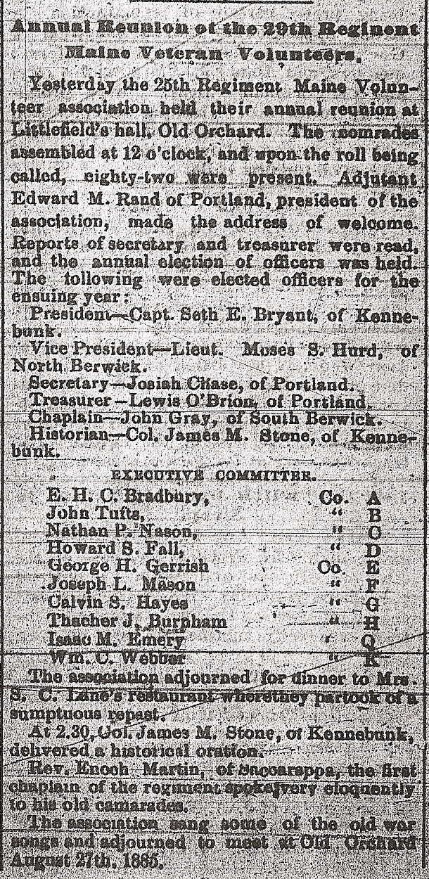 1884 Reunion, 27th Maine