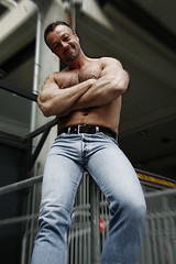 Muscle Hunk_7033 (picman1108) Tags: hairy man male pecs muscles chest hunk crotch piercing jeans bodybuilder levis bulge
