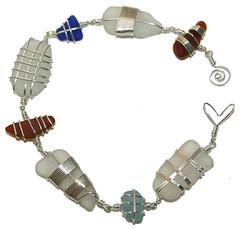 sea glass wire wrapped bracelet by DAGROW MORVORENN (Hannah Marshall) Tags: jewelry jewellery seaglass beachcombing beachglass wirewrapping handmadejewellery seapottery dagrowmorvorenn seajewelleryjewelry