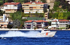 "On the step, Kaan 15 ""Interceptor"" Class SG-12 Turkish Coast Guard patrol boat at high speed, Istanbul, Turkey, 8 September 2008. This vessel is capable of more than 54 knots, or 100 kilometers/60 miles per hour! What a ride... (Ivan S. Abrams) Tags: coastguard docks turkey boats nikon mediterranean ataturk ships istanbul maritime getty lighters nikkor tugs straits ports nikondigital blacksea gallipoli ferries harbors watercraft bosphorus tugboats gettyimages vessels freighters tankers harbours cruiseships barges smrgsbord smorgasbord warships destroyers ferryboats navyships speedboats frigates internationaltrade classicboats seaofmarmara navies containerships portcities navalvessels bulkcarriers nikonprofessional chokepoints onlythebestare boatnerd ivansabrams trainplanepro nikond300 internationalshipping sealanes ivanabrams worldwideshipspotters servicecraft gettyimagesandtheflickrcollection smorgasborf feriobots coastalfreighters marinecommerce internationalcommerce maritimecommerce seaportsseaportmaritime crossroadsasiaeuropebosforbogazasia minorboxesintermodal tugobats copyrightivansabramsallrightsreservedunauthorizeduseofthisimageisprohibited tucson3985gmailcom copyrightivansafyanabrams2009allrightsreservedunauthorizeduseprohibitedbylawpropertyofivansafyanabrams unauthorizeduseconstitutestheft thisphotographwasmadebyivansafyanabramswhoretainsallrightstheretoc2009ivansafyanabrams"