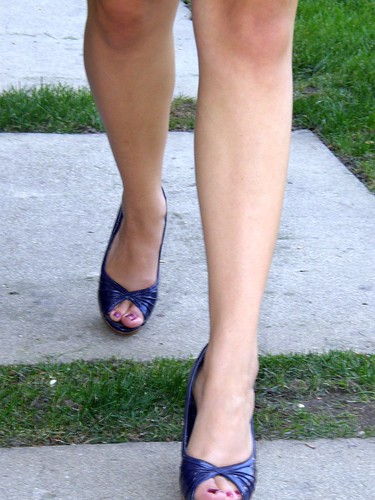 Navy Peep Toe Shoes