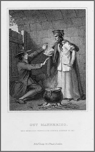 06- Grabado en acero de J. Romney de un dibujo de C. R. Leslie para una escena de la novela de W. Scott Guy Mannering 1832