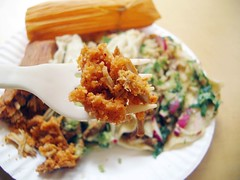 chicken tamale from taco cart