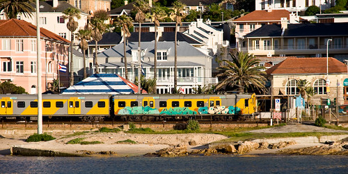 Graffiti covered commuter train in Kalk Bay