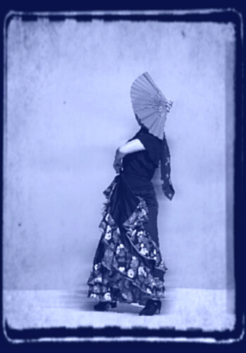 blue people woman vintage pose fan dance shoes dress arm dancing dancer skirt shawl effect hue postproduction flamenco abigfave tanakawho brillianteyejewel