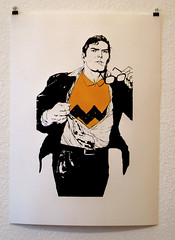 wrong suit, clark /first test print (l.e.t.) Tags: street streetart pasteup art print poster kent stencil sticker peace contemporary kunst wheatpaste pop superman popart clark silkscreen hero warhol let woostercollective