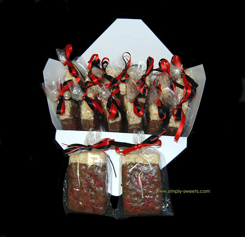 black and red chooclate dipped rice krispie favors
