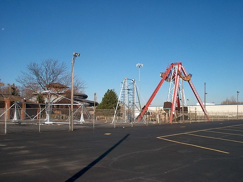 Disasembled rides on the park's midway. Kiddieland Amusement Park. Melrose Park Illinois. November 2006. by Eddie from Chicago