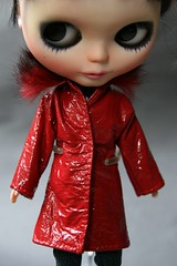Red leather jacket with fur