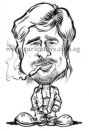 Celebrity caricatures - Brad Pitt ink watermark