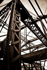 A bridge too far (Chris Beauchamp) Tags: bridge blackandwhite building boston sepia architecture canon beams xti copyrightchrisbeauchamp20072009