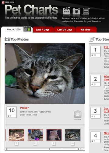 "Parker on the Purina ""Pet Charts"""