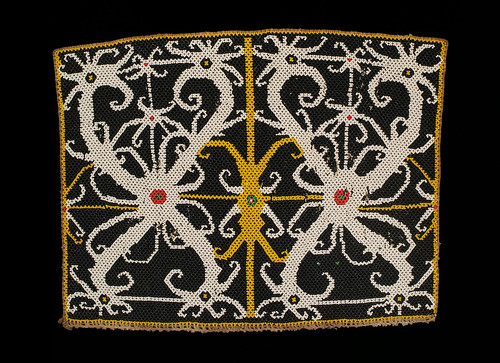 //Bead Panel,// Ngaju people. Borneo 20th century, 33 x 26 cm. From the Teo Family collection, Kuching. Photograph by D Dunlop.