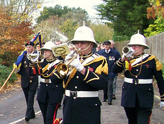 Old Basing 09 Nov 2008_33 detail (Beardy Vulcan) Tags: november autumn england fall march flag band trumpet hampshire parade veteran 2008 basingstoke churchlane bugle britishlegion stephensmith oldbasing rememberancesunday loddonvalley oldbasingcorpspfdrums