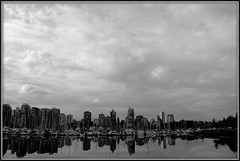 Westward The Sky Darkens (Mark Faviell Photos) Tags: sky bw storm vancouver clouds cityscape harbour seawall fave coal