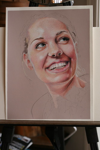 Photo of in progress drawing entitled Rachel.