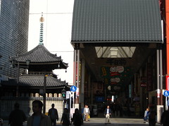 Temple and shopping arcade