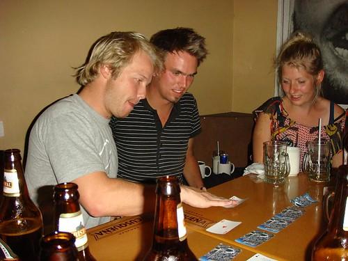 Kasper, Tobias, and Lisbeth (all vikings) playing drinking games...