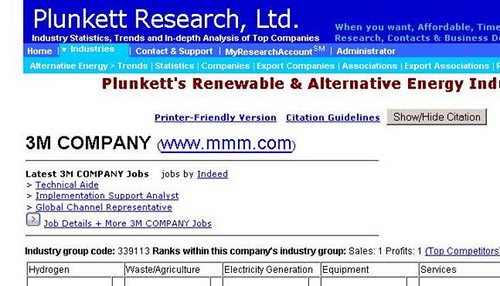Results page of a search for 3M Corporation