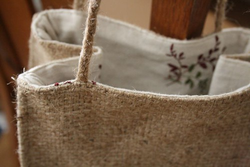 burlap bag with braided jute handles