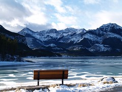 thankful (ktelqueen) Tags: blue winter mountain lake ice nature beauty bench kananaskis rockies frozen peace olympus appreciation alberta mtbaldy barrierlake ktelqueen mariapowellphotography