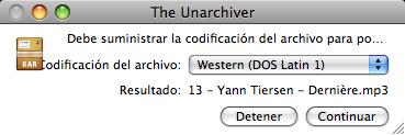 Captura de The Unarchiver con el juego de caracteres bien codificado