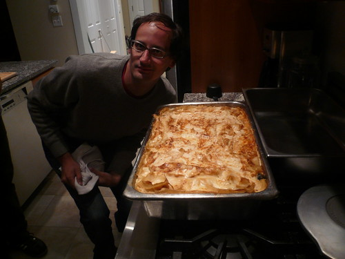 Giant Lasagna, with Kyle for scale