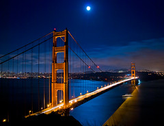Blue Moon at the Golden Gate (Noel Kerns) Tags: california bridge blue moon night golden gate san francisco
