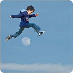 [312/365] jumping the moon (Alessio Gigli) Tags: blue sky moon kid jump jumping nikon child action blu surreal luna fantasy cielo fantasia salto saltando bambino alessio azione saltare surreale gigli d40 365days