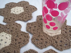 hexagon coasters (baban cat) Tags: brown wales handmade crochet cream hexagon etsy coasters organiccotton
