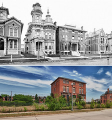 James Campbell house at 91 Alfred Street - 1881 and 2011 (mgsmith) Tags: city urban usa building abandoned architecture geotagged us michigan urbandecay detroit ruin beforeandafter urbanrenewal buidlings brushpark derelictbuildings 1881 2011 alfredstreet tourdetroit detroittour jamesvcampbell 91alfredst 261alfredstreet