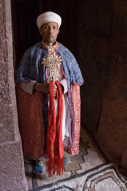 Priest and Cross #2, Lalibela, Woldia, Ethiopia, October 2007