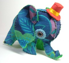 elephant toy a (Marisa Straccia) Tags: elephant cute toy needlework handmade craft softie vintagefabric tophat plushie handstitched