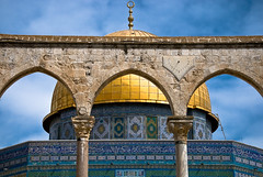Golden Dome (roevin | Urban Capture) Tags: sky architecture clouds religious gold israel shrine jerusalem courtyard domeoftherock bleu dome oldcity jeruzalem islamic quran yerushalayim mywinners aplusphoto