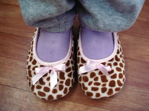 Princess cow print slippers