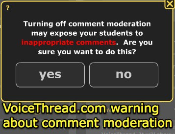 VoiceThread - warning about comment moderation