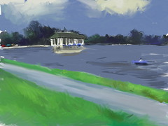 boathouse at smith lake, digital oil (ArtRage 2.5) (mike thomas) Tags: from park art digital painting landscape sketch photo washington wash oil artrage nmpemulation
