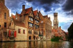 [フリー画像] 建築・建造物, 都市・街, 世界遺産, ベルギー, ブルッヘ, HDR, 運河, 200807140500