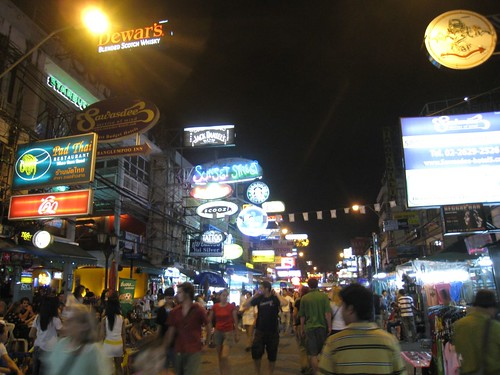 The hustle and bustle of Khao San road at night