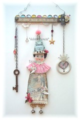 *QueeN of HeaRTs* aLTeReD aRt ViNTaGe PaPeR DoLL CoLLaGe MoBiLe (sPaRK*YouR*iMaGiNaTioN) Tags: original party hat mobile fairytale vintage paper star wire key doll heart head folk antique assemblage mixedmedia ooak bisque queen fantasy german crown ruler fairyland alteredart millinery earthangelstoys debrinapratt