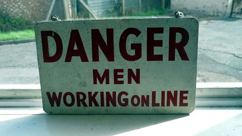 Danger Men Working Online sign, Bletchle by gruntzooki, on Flickr