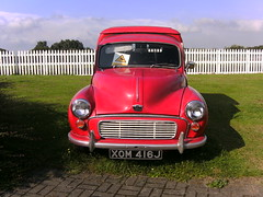 It's an Austin Minor like my Granddad's Post Office van (friskierisky) Tags: summer cars truck austin scotland glare lorry 1000 boness minis burntisland yellowcar showground motorvehicles brightday fordescortmk1 volksy morrisminorvan volkswaggonbeatle