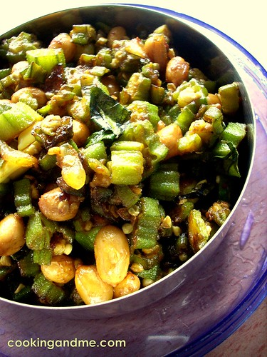 Okra Fry With Peanuts - Bhindi Fry Recipe