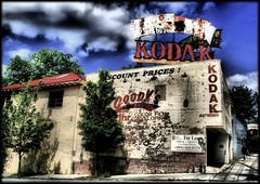 Kodak (Gayle_T) Tags: street atlanta sky urban color building brick abandoned sign georgia shadows kodak decay ominous dramatic sunny chippedpaint platinumphoto