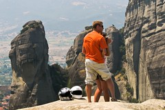 (Vasilis Manthos) Tags: orange love landscape couple rocks helmets meteora kalabaka  bej      vasilesmanthos