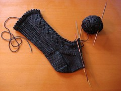 leaf lace sock in progress