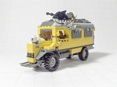 Schooling Bus fore (Tekka Croe) Tags: school bus post lego schoolbus apocalyptic apoc bayonets apocalego