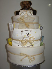 Cream nappy cake 003 (russell.davina) Tags: nappy diaper babygift diapercake babyshowergift nappycake babyshowercenterpiece babyhamper nappycakes