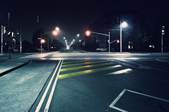 (uwajedi) Tags: road street light red toronto ontario canada fog night traffic line sidewalk stop intersection thebeaches fogography
