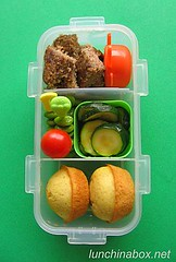 Kibbe bento lunch for preschooler (Biggie*) Tags: food kids tomato children lunch kid toddler child ketchup hamburger cornbread zucchini muffin edamame courgette packedlunch schoollunch biggie brownbag cherrytomato preschooler lunchinabox kibbeh sacklunch kibbe minimuffin bentoblog brownbaglunch cornbreadmuffin ssbiggie lunchinaboxnet twittermoms minicornbreadmuffin
